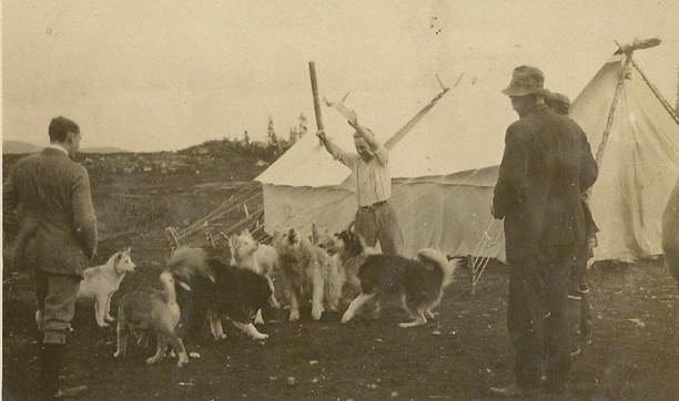 Sigurjon's son, Steve Isfeld with some of the 1933 Byrd Expedition Team dogs